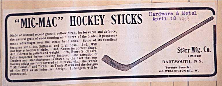 Ad for Mic Mac Hockey Sticks