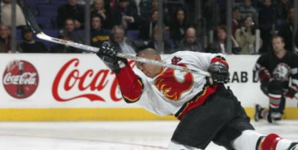 Jarome Iginla shooting for hardest shot with an Easton Synergy
