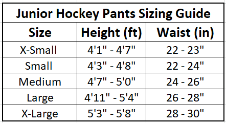 Junior Hockey Pants Sizing