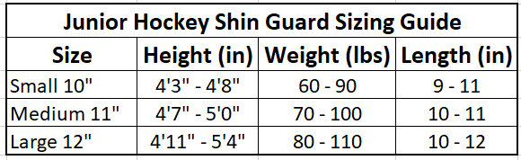Junior Hockey Shin Guard Sizing