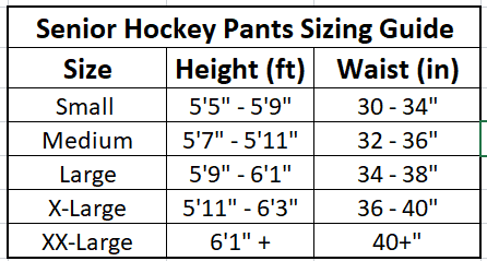 hockey pants sizing