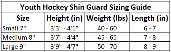 Youth Hockey Shin Guard Sizing Table